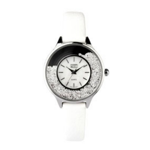 Eton Ladies White PU Strap Moving Stone Case Wrist Watch