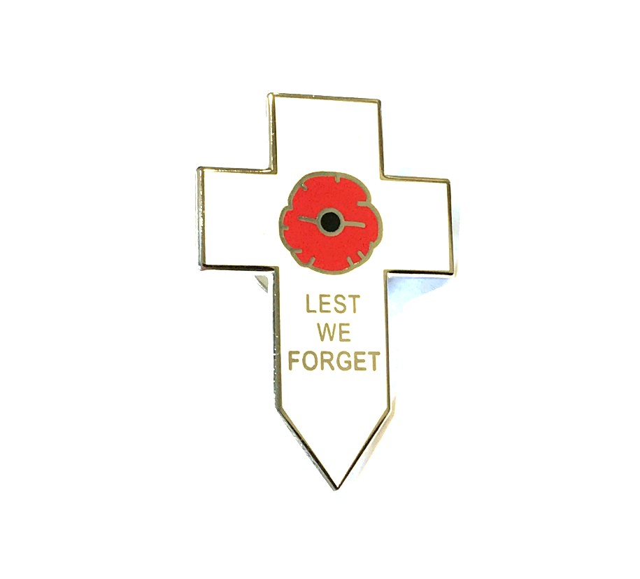 Lest We Forget White Cross Poppy Badge