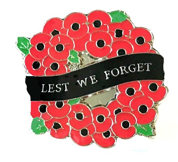 Lest We Forget Poppies Pin Badge