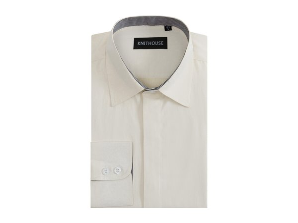 Men's Plain Cream Formal Fitted Textured Shirt