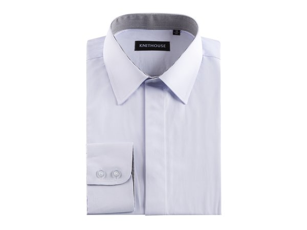 Men's Plain Lilac Formal Fitted Textured Shirt