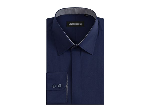 Men's Plain Navy Formal Fitted Textured Shirt