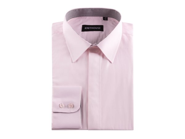 Men's Plain Pink Formal Fitted Textured Shirt
