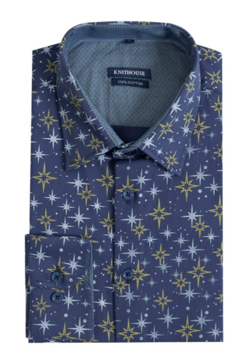 Men's Long Sleeve Slim Fit Shirt - Night Stars