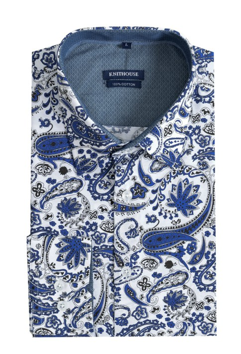 Men's Long Sleeve Slim Fit Shirt - Paisley Navy