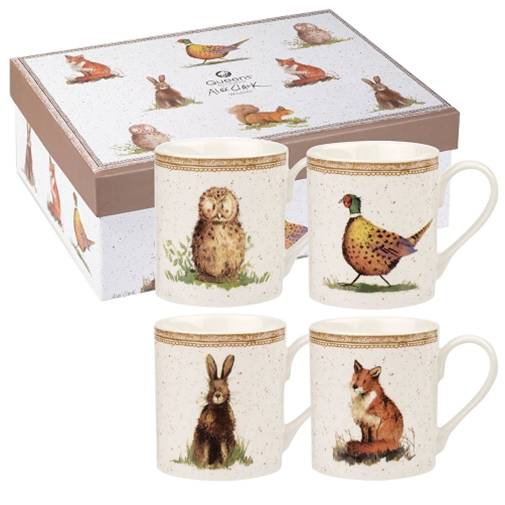 Queens Wildlife Fine Bone China Mugs - Set of 4