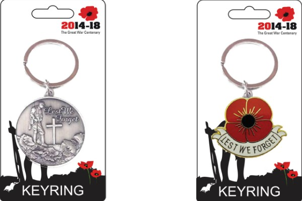 Flanders Field Design and Lest We Forget Poppy Keyring Set of 2
