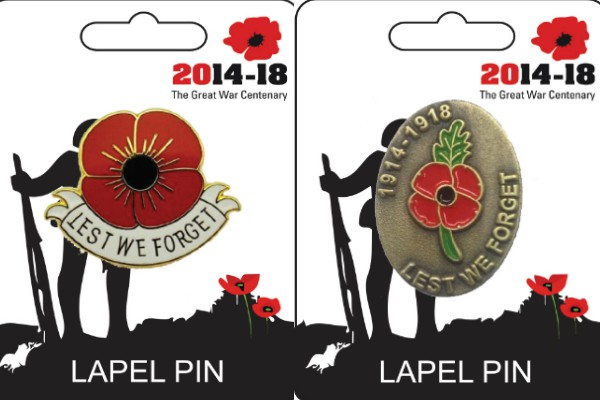 Lest We Forget Lapel Pin Badges - Set of 2