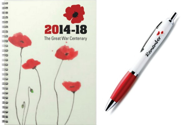 The Great War Centenary A6 Hardback Notebook and Pen Set