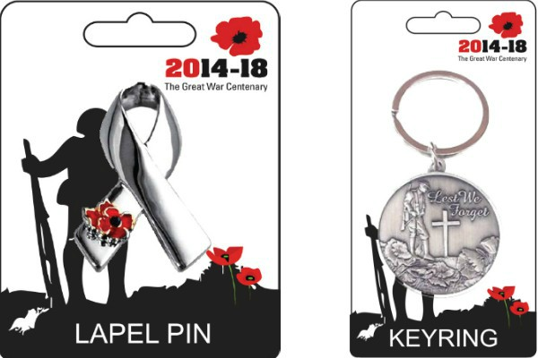 Ribbon Design Poppy Pin Badge & Flanders Field Design Keyrings
