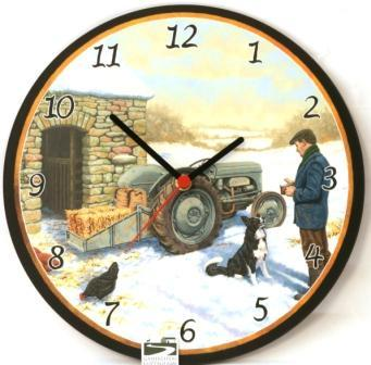 Grey Fergie Tractor in Snow Wall Clock
