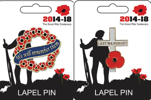 We Will Remember Them & Lest We Forget Cross Lapel Pin Badges